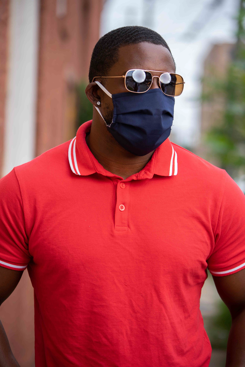 Blue Fabric Mask on Male Model