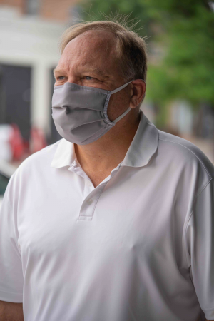 Grey Fabric Mask on Male Model