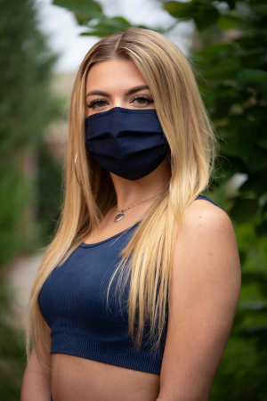Navy Fabric Mask on Female Model